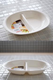 일본 NAKAYA社 전자레인지 전용 반반 화이트 접시